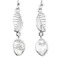 10.63cts natural white herkimer diamond 925 silver deltoid leaf earrings r65778