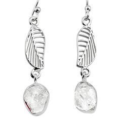 9.86cts natural white herkimer diamond 925 silver deltoid leaf earrings r65780