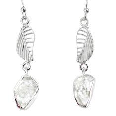10.32cts natural white herkimer diamond 925 silver deltoid leaf earrings r69531