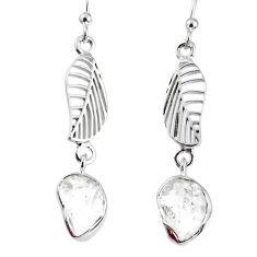 9.37cts natural white herkimer diamond 925 silver deltoid leaf earrings r69533