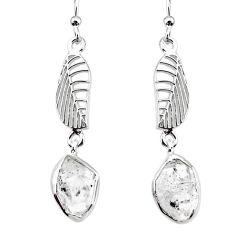 9.29cts natural white herkimer diamond 925 silver deltoid leaf earrings r73623