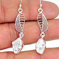 9.80cts natural white herkimer diamond 925 silver deltoid leaf earrings r89903
