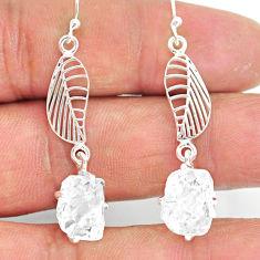 8.95cts natural white herkimer diamond 925 silver deltoid leaf earrings r90790