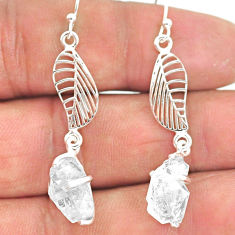 7.73cts natural white herkimer diamond 925 silver deltoid leaf earrings r90791
