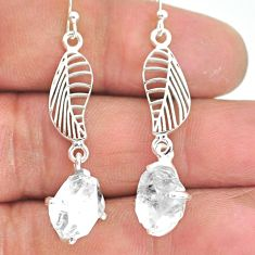 7.87cts natural white herkimer diamond 925 silver deltoid leaf earrings r90792