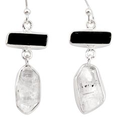 17.22cts natural white herkimer diamond 925 silver earrings jewelry r38366