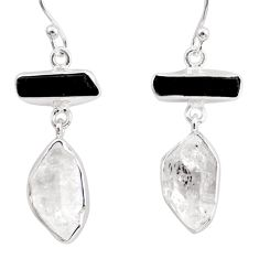 17.22cts natural white herkimer diamond 925 silver earrings jewelry r38369