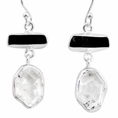 17.22cts natural white herkimer diamond 925 silver earrings jewelry r38370
