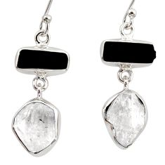 17.22cts natural white herkimer diamond 925 silver earrings jewelry r38371