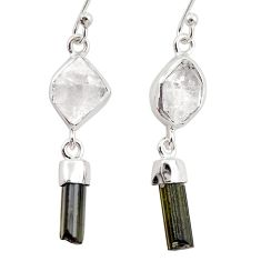 13.13cts natural white herkimer diamond 925 silver earrings r38363