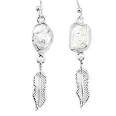 9.25cts natural white herkimer diamond 925 silver feather charm earrings r73622