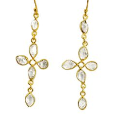 10.11cts natural white herkimer diamond 925 silver gold cross earrings r64196