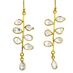 10.65cts natural white herkimer diamond 925 silver gold tennis earrings r64232