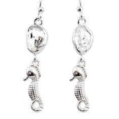 9.59cts natural white herkimer diamond 925 silver seahorse earrings r65765