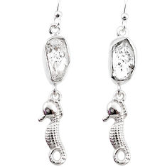 11.07cts natural white herkimer diamond 925 silver seahorse earrings r65766