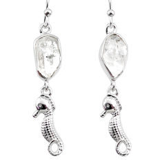 11.07cts natural white herkimer diamond 925 silver seahorse earrings r65769