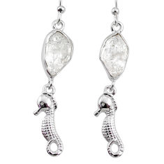 10.67cts natural white herkimer diamond 925 silver seahorse earrings r65775