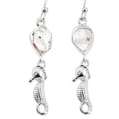 8.37cts natural white herkimer diamond 925 silver seahorse earrings r69503