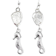 8.80cts natural white herkimer diamond 925 silver seahorse earrings r69508