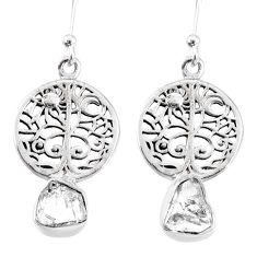 8.05cts natural white herkimer diamond 925 silver tree of life earrings r69515