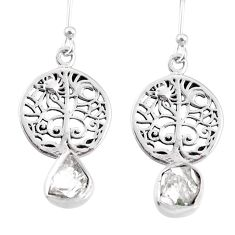 6.82cts natural white herkimer diamond 925 silver tree of life earrings r69516