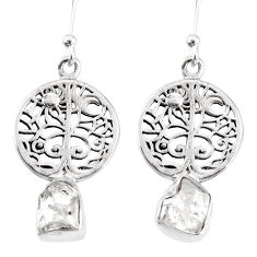 7.22cts natural white herkimer diamond 925 silver tree of life earrings r69518