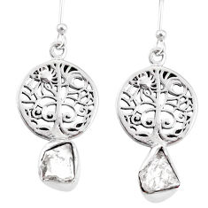7.26cts natural white herkimer diamond 925 silver tree of life earrings r69519