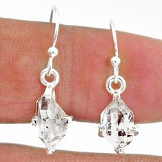4.56cts natural white herkimer diamond 925 sterling silver dangle earrings t6803