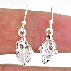 5.24cts natural white herkimer diamond 925 sterling silver dangle earrings t6805