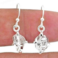 5.77cts natural white herkimer diamond 925 sterling silver dangle earrings t6806