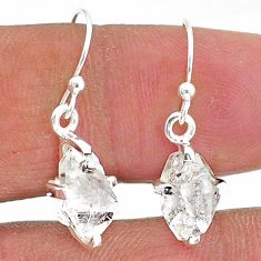 5.77cts natural white herkimer diamond 925 sterling silver dangle earrings t6811