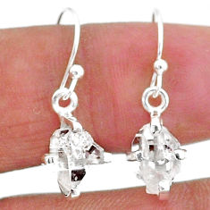 5.15cts natural white herkimer diamond 925 sterling silver dangle earrings t6813