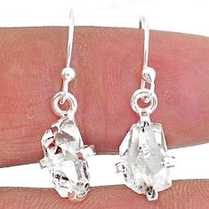 5.71cts natural white herkimer diamond 925 sterling silver dangle earrings t6815
