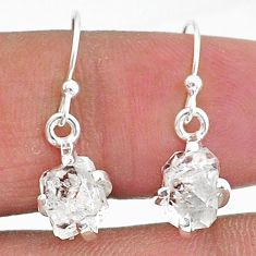 5.85cts natural white herkimer diamond 925 sterling silver dangle earrings t6816