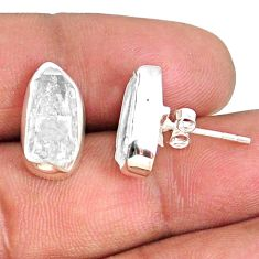 8.00cts natural white herkimer diamond 925 sterling silver earrings r69675
