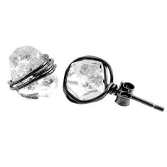8.90cts natural white herkimer diamond 925 sterling silver stud earrings r65853
