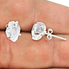 4.73cts natural white herkimer diamond 925 sterling silver stud earrings t50801