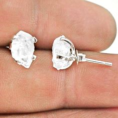 4.70cts natural white herkimer diamond 925 sterling silver stud earrings t50810