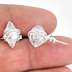 7.80cts natural white herkimer diamond 925 sterling silver stud earrings t6492