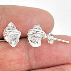 5.97cts natural white herkimer diamond 925 sterling silver stud earrings t6493