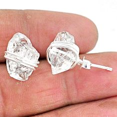 10.70cts natural white herkimer diamond 925 sterling silver stud earrings t6494