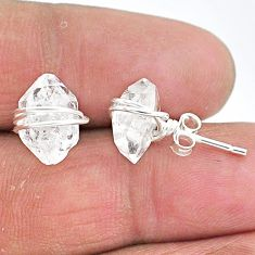 6.55cts natural white herkimer diamond 925 sterling silver stud earrings t6496