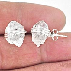 10.09cts natural white herkimer diamond 925 sterling silver stud earrings t6500