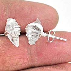 7.22cts natural white herkimer diamond 925 sterling silver stud earrings t6548
