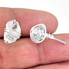 8.38cts natural white herkimer diamond 925 sterling silver stud earrings t6549