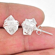 8.87cts natural white herkimer diamond 925 sterling silver stud earrings t6553
