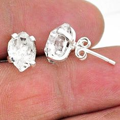 5.24cts natural white herkimer diamond 925 sterling silver stud earrings t6881