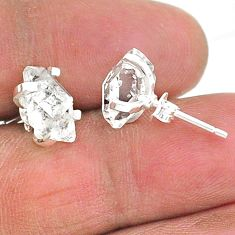 5.15cts natural white herkimer diamond 925 sterling silver stud earrings t6882