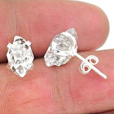 5.77cts natural white herkimer diamond 925 sterling silver stud earrings t6885