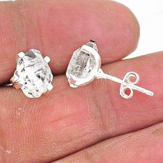 5.68cts natural white herkimer diamond 925 sterling silver stud earrings t6886